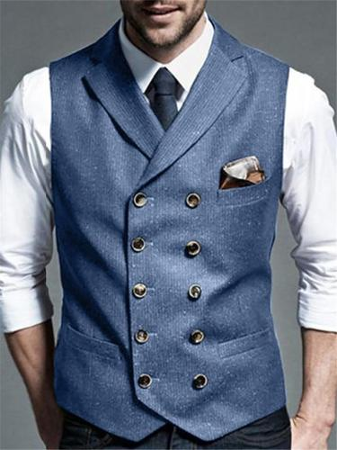 Slim Fit Pure Color Notched Double-Breasted Vest For Men