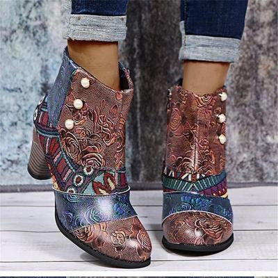 Ethnic Style Floral Printed Multicolor Chunky High Heel Boots