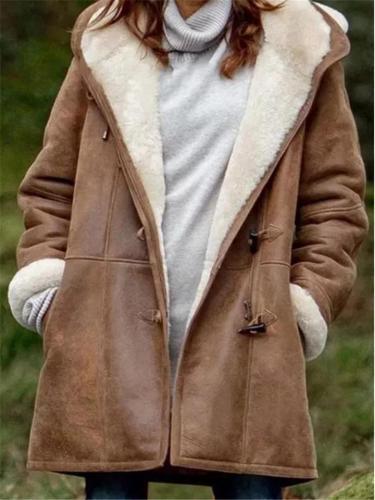 Extra Cozy Fur Lining Horn Toggles Pocket Hooded Midi Coat