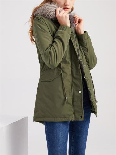 Flap Pocket Waist Drawstring Thicken Cotton Hooded Coat