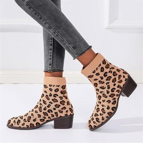 Trendy Leopard Printed Chunky Heel Stretchy Martin Boots