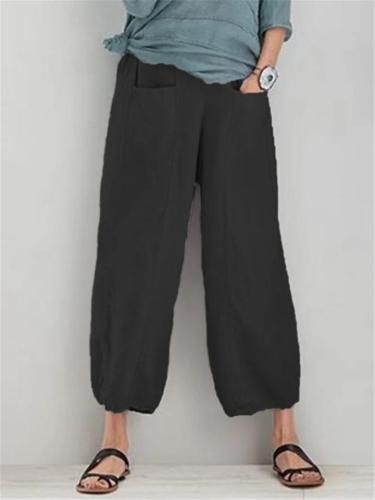 Women's Front Pocket Elastic Waistband Cotton Linen Trousers