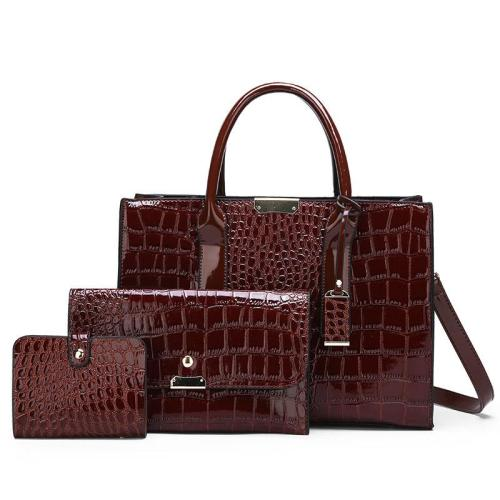 Fashion Crocodile Pattern 3 Piece Tote Bag Crossbody Bag Handbag