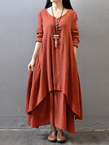 Casual V Neck Long Sleeve Swing Linen Dress