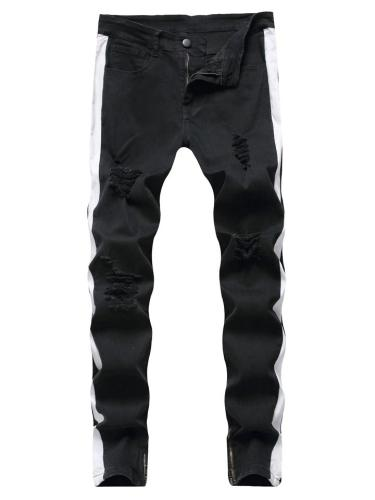 Trendy Tapered Fit Contrasting Ripped Front Zip Metal Button Jeans