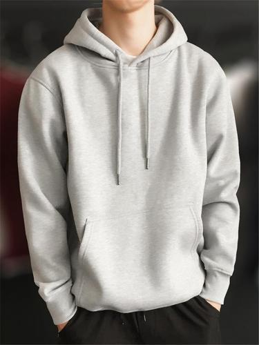 Relaxed Fit Kangaroo Pocket Solid Color Drawstring Hooded Sweatshirt