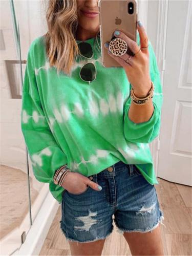 Loose Fit Round Neck Tie-Dye Long Sleeve Pullover Tops