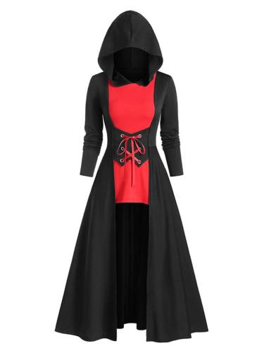 Retro Style Contrasting Hooded High-Low Front Lace Up Cloak Dress