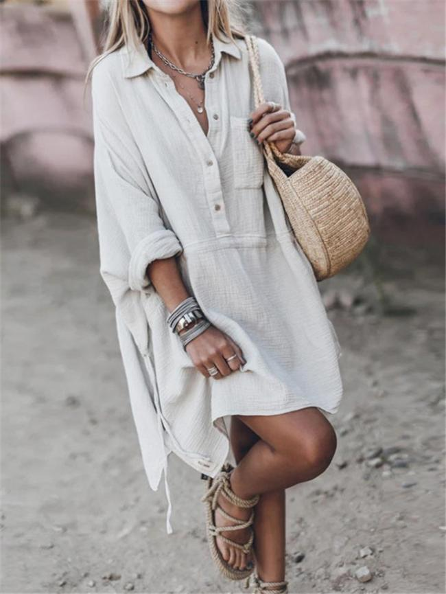 Relaxed Fit Chest Pocket Button Up Lapel Collar Mini Shirt Dress