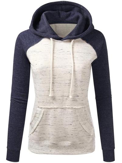Relaxed Fit Front Pocket Contrasting Drawstring Hooded Sweatshirt