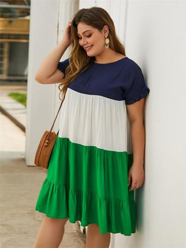 Women's Plus Size Fashion Patch Work Dresses For Summer