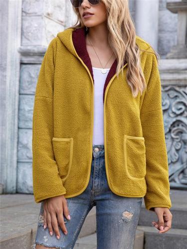 Comfortable Solid Color Pocket Hooded Fur Coat