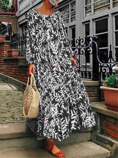 Oversized Notched V Neck Butterfly Printed Long Sleeve Maxi Dress