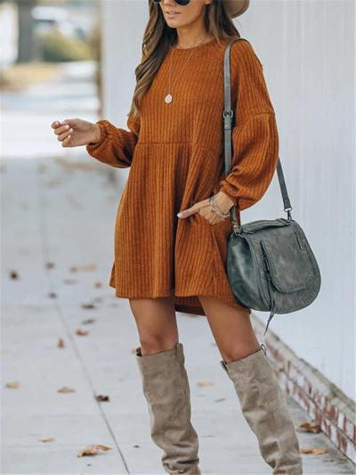 Womens Cozy Solid Color O-Neck Knitted Long Sleeve Dress