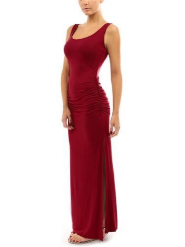 Scoop Neck Sleeveless Ruched Design High Slit Maxi Dress