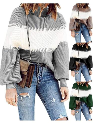 Relaxed Fit Color Block Turtleneck Knit Sweaters