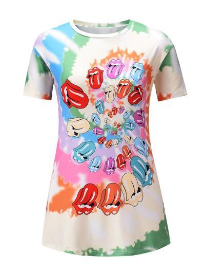 Stylish Loose Fit Cartoon Printed Round Neck Short Sleeve T-Shirt