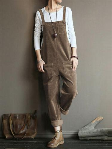 Women's Casual fit Corduroy Multi-Pocket Strappy Jumpsuit