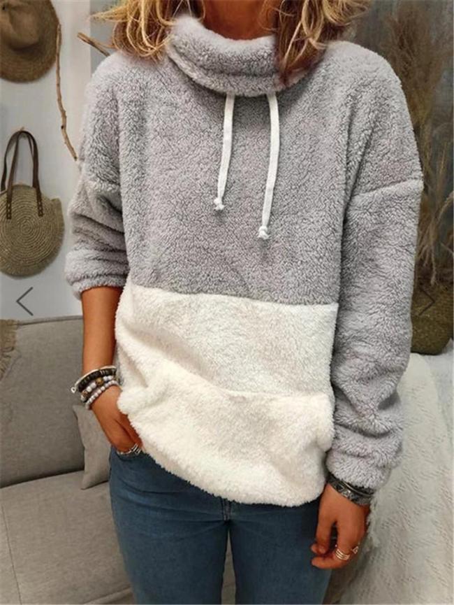 Comfortable Contrasting Drawstring Long Sleeve Plush Fur Pullover Sweatshirt