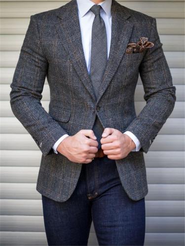 Fashion Notched Collar One-Button Business Blazer