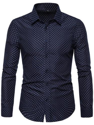 Men's Slim Fit Lapel Collar Polka Dot Buttoned Cuff Button Shirt