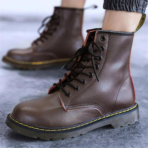 Unisex Stylish Fur Lining Genuine Leather Lace Up Non-Slip Boots
