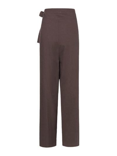 Minimalist Style High-Rise Side Tie Up Pocket Cotton Linen Pants