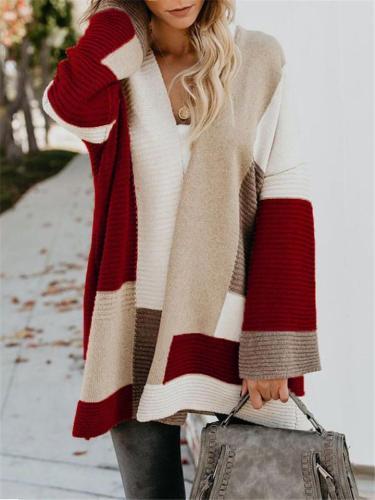 Women Stylish  Plus Size Loose Color Block Cardigans