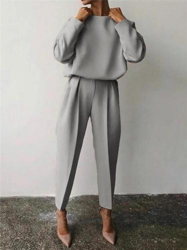 Casual Tracksuit Sets Round Neck Sweatshirt + Elastic Waist Pants