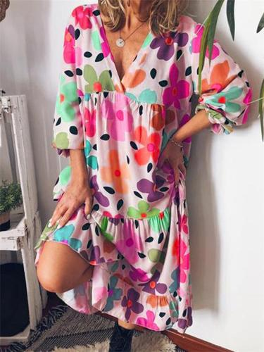 Trendy V Neck Floral Printed Long Sleeve Pleated Midi Dress