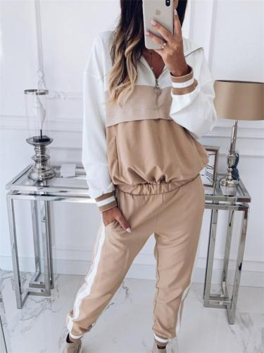 Color Block Tracksuit Sets Hooded Sweatshirt + Elastic Waist Trousers