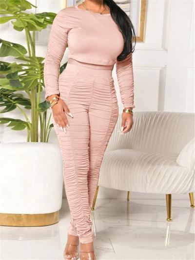 Ruched Design Tracksuit Sets Cropped Tops+ High-Rise Skinny Pants