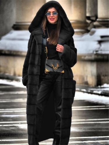 Extra Cozy Warm Faux Fur Open Front Pocket Hooded Long Coat