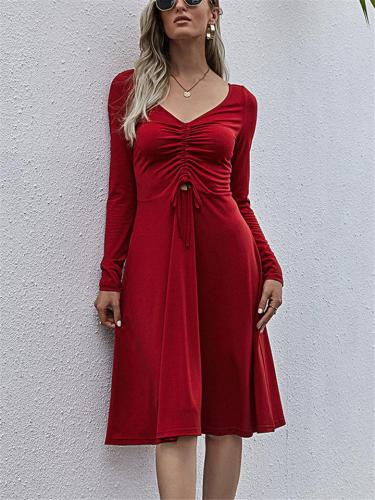 Fashionable V Neck Front Ruched Design Long Sleeve Midi Flare Dress