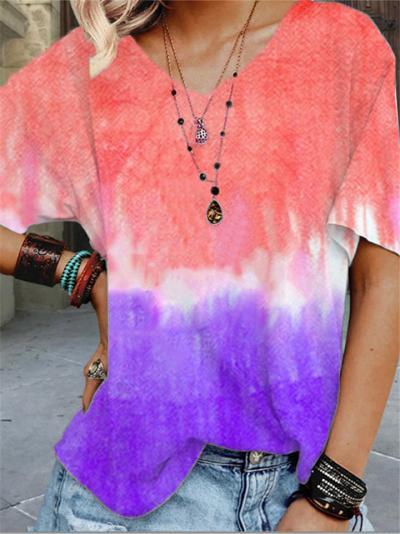 Loose Fit V Neck Contrasting Gradient Color Short Sleeve T-Shirt