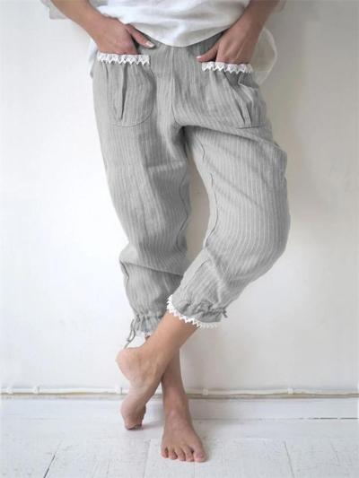 Casual Fit Drawstring Cuff Striped Floral Pocket Cropped Pants