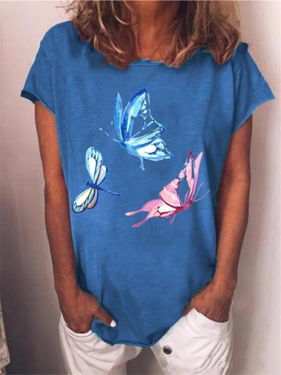 Casual Fit Round Neck Butterfly Printed Short Sleeve Pullover T-Shirt