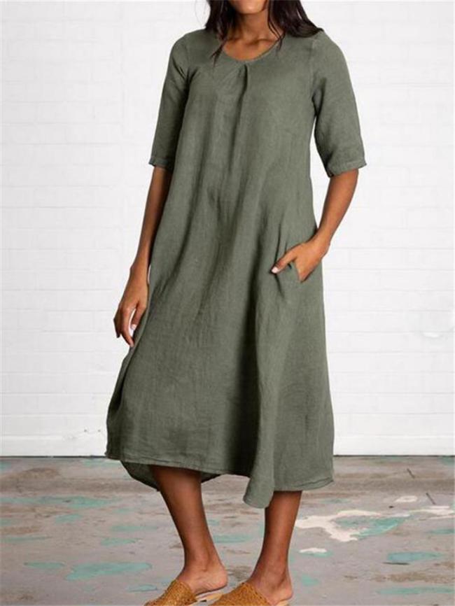 Casual Style Cotton Linen Half Sleeve Pocket Midi Dress