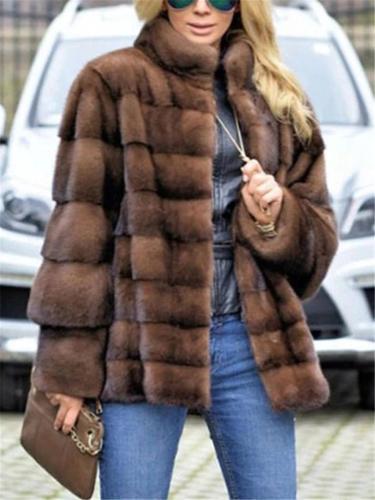 Stand Collar Brown Faux Fur Plain Women Coat