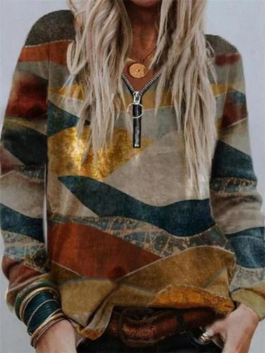 Relaxed Fit Quarter Zipper Printed Long Sleeve Sweatshirt