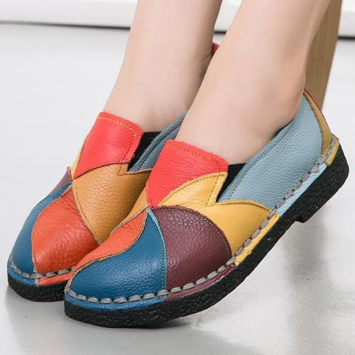 Colorful Genuine Leather Casual Loafers Summer Shoes
