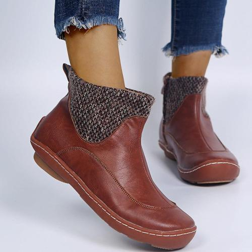 Women Retro Patchwork Knitting Ankle Boots