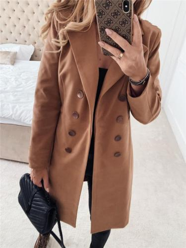 Trendy Notched Lapel Collar Double-Breasted Solid Color Midi Coat