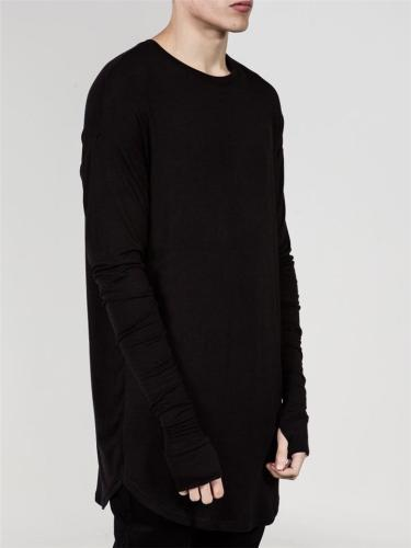 Hip-Hop Style Solid Color Long Sleeve Loose Casual T-shirt For Men