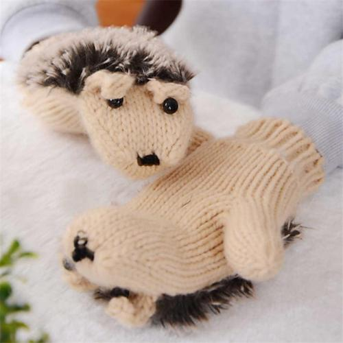 Creative Cute Hedgehog Knitted Warm Mittens