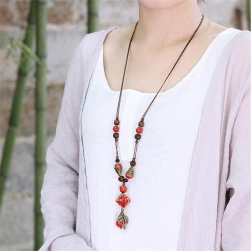 Vintage Ethnic Ceramic Water drop Leaf Pendant Necklace