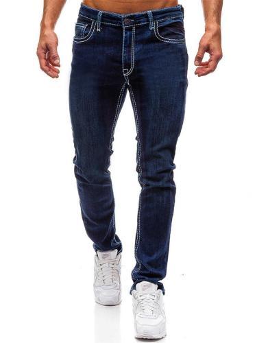 Minimalist Pure Color Slant Pockets Straight Jeans For Men