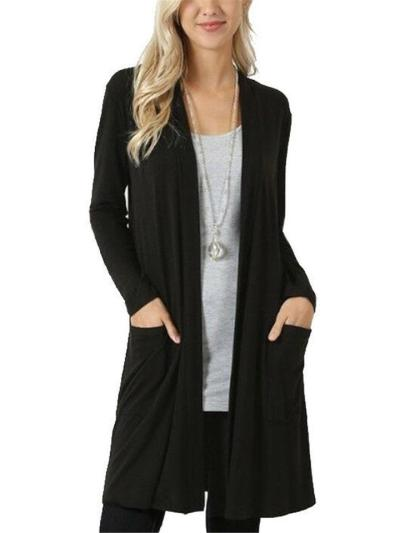 Minimalist Style Open Front Long Sleeve Pocket Solid Color Midi Cardigan