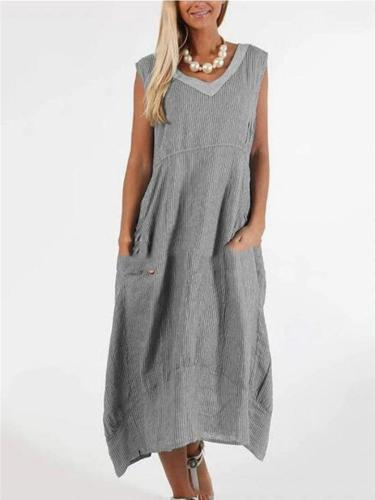Casual Style Loose Fit V Neck Sleeveless Pullover Pocket Dress