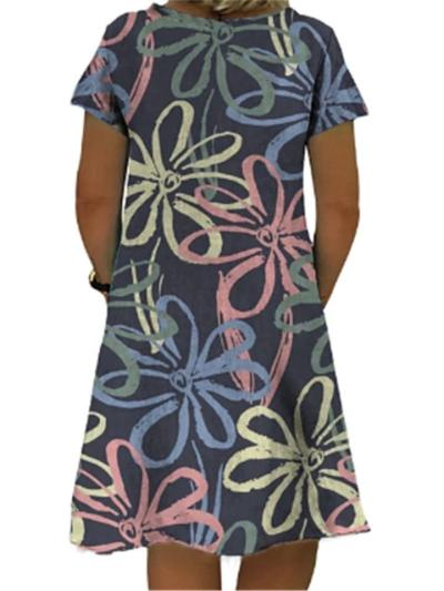 Relaxed Fit V Neck Floral Printed Short Sleeve Midi Flare Dress